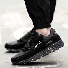 Light Runing Pria Sneakers Air Sole Nyaman Pria Running Shoes Lace-upsport  Sepatu (hitam acb9fe50b6