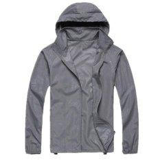 Ringan Jas Hujan Aktif Hoodie Luar Ruangan Bersepeda Menjalankan Jaket Jaket Abu-abu-Intl