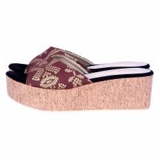 LIKE Ethnic Likea Slippers Wedges Platform Songket Bali Dark Brown -  Selop Etnik Songket Coklat