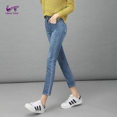 Jual Likener Trend Gugur Pergelangan Kesemek Lurus Celana Celana Jeans Panjang Kasual Menggaruk Biru Tua Baru