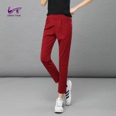 Likener Trend Harem Pants Wanita Lepas Pergelangan Kesemek Panjang Celana Bordeaux Merah Diskon Akhir Tahun