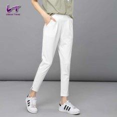 Likener Trend Pergelangan Kesemek Elastis Yang Tinggi-Panjang Harem Celana Celana Wanita Suara (putih)