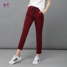 Beli Likener Trend Celana Harem Pergelangan Kesemek Ikat Elastis Dan Halus Panjang Celana Bordeaux Merah Secara Angsuran