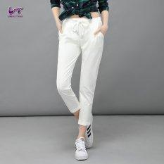 Jual Likener Trend Santai Celana Harem Pergelangan Kesemek Elastis Yang Tinggi Panjang Celana Putih Lengkap