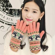 Lima Jari Korea Modis Gaya Rajutan Musim Gugur atau Dingin Lapisan Ganda Bersepeda Sarung Tangan Bulu Sarung Tangan (Merah muda (Anak Rusa Model))