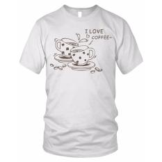 Limosin-kaos distro-kaos dtg I Love Coffee - Putih