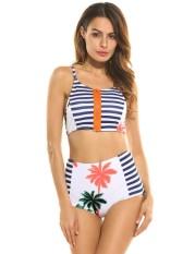 Linemart Baru Wanita Seksi Tali Spaghetti Risleting Depan Cetakan Patchwork Baju Renang Pinggang Tinggi 2 Pieces Bikini Set Setelan Mandi (putih) -Internasional