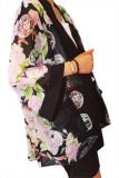Linemart Summer Floral Print Chiffon Kimono Top Cardigan Blouse Flowers Intl Indonesia