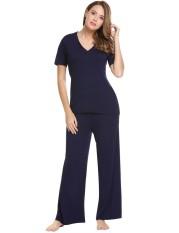 Linemart Wanita Kasual Leher-v Lengan Pendek Atasan dan Polos Pinggang Elastis Lebar Kaki Celana Pajama Set (Biru Tua) -Internasional