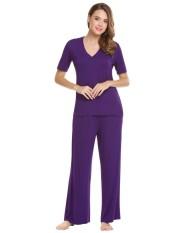 Linemart Wanita Kasual Leher-v Lengan Pendek Atasan dan Polos Pinggang Elastis Lebar Kaki Celana Pajama Set (Ungu) -Internasional
