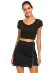 Beli Linemart Wanita Pinggang Tinggi Zipper Depan Solid Slim Fit Club Mini Rok W Safety Underwear Hitam Intl Secara Angsuran