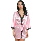Beli Linemart Women Loose 3 4 Sleeve Lace Trimmed Kimono Style Short Satin Robe Pink Intl Kredit