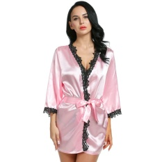 Beli Linemart Women Loose 3 4 Sleeve Lace Trimmed Kimono Style Short Satin Robe Pink Intl Tiongkok