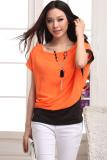 Harga Linemart Wanita Leher O Patchwork T Shirt Chiffon Orange Asli