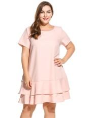 Linemart Wanita Lengan Pendek Solid Double Layer Ruffles Hem Dress Plus Ukuran Lebih (Berwarna Merah Muda)-International