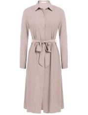 Linemart Wanita Refused Kerah Gulungan Hingga Lengan Belted Tombol Gaun Kemeja Ukuran Better (Apricot)-Internasional