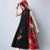 Harga Pakaian Linen Untuk Wanita Pakaian Cina Gaya Cetak Vestidos V Leher Tanpa Lengan Musim Panas Gaun Wanita Hitam Merah Intl New