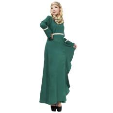 Linen Melayu Dress Wanita Arab Gaun Rok Panjang Jumpsuit Lengan Hijau-Intl