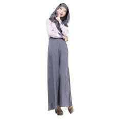 Linen Melayu Dress Wanita Arab Maxi Gaun Rok Lengan Panjang Splice Warna Pakaian Terusan Abu-abu-Intl