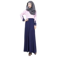 Linen Melayu Dress Wanita Arab Muslim Gaun Rok Lengan Panjang Warna Sambungan Jumpsuit Ungu-Intl