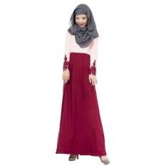 Linen Melayu Dress Wanita Arab Muslim Gaun Rok Lengan Panjang Warna Sambungan Jumpsuit Merah-Intl
