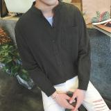 Review Linen Musim Gugur Pria Kerah Stand Up Lengan Kelima Baju Kemeja Hijau Lengan Panjang Model