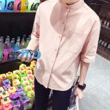 Jual Linen Musim Gugur Pria Kerah Stand Up Lengan Kelima Baju Kemeja Merah Muda Lengan Bagian Baju Atasan Kaos Pria Kemeja Pria Di Tiongkok