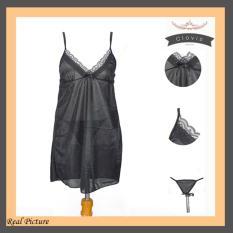 Lingerie Black Renda Tali Satin TSP Fashion Baju Tidur Sexy Wanita Silk Satin -Black White