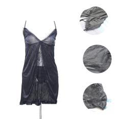Lingerie Hitam Renda Satin HRS-02 Fashion Baju Tidur Sexy Wanita Silk Satin - Black