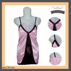 Lingerie Pink Renda Satin HRS-02 Fashion Baju Tidur Sexy Wanita Silk Satin - Pink