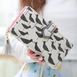 Harga Linjiaxiaofei Dompet Dompet Imut Rumbai Zipper Perempuan Burung Hitam Dan Putih Fullset Murah
