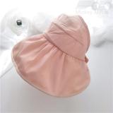 Spesifikasi Lipat Matahari Topi Topi Uv Matahari Topi Visor Kulit Merah Muda Untuk Mengirim Tali Angin Terbaik
