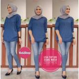 Lisa Top Blouse Atasan Jeans Wanita Kemeja Busui Kalshop Blue Murah Di Jawa Tengah