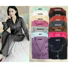 LITA STORE Baju tidur piyama satin lengan panjang / baju rumah / baju tidur unyu / baju harian / baju tidur motif / baju tidur import / baju murah / baju wanita / baju real pic
