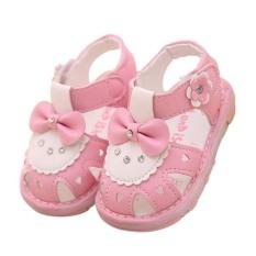 Gadis Kecil Sandal Anak Pertama Walkers Bayi Putri Sepatu Lampu Dipimpin Sepatu (Merah Muda)-Intl