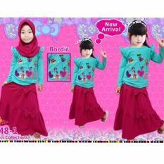 Little Pineapple 3in1 Setelan Kaos Hijab Rok Lovi Poni Moslem Gamis 3-8taun