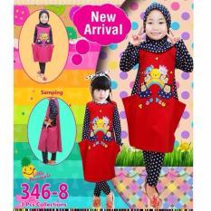 Little Pineapple Set Gamis Tunik Gummy Legging Muslim Hijab Anak 3-8Y