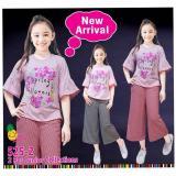 Jual Little Pineapple Setelan Bohemian Kaos Celana Kulot Garis Anak 6 11Y Di Indonesia
