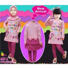 Little Pineapple Setelan Hijab Pony Ruffle Muslim Legging Anak 2-7Tahun