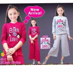 Beli Barang Little Pineapple Setelan Jogging Sweater Celana Kulot Love Anak 6 11Y Online