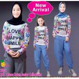 Little Pineapple Setelan Kaos Happy Gamis Hijab Celana Kulot Anak 6 11Y Little Pineapple Diskon