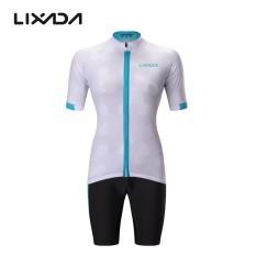 Wanita Penuh-zip Lengan Pendek Bersepeda Jersey Kaus Cepat Kering Bernapas Gunung Baju Sepeda Terbaik + Nyaman gel Padded Celana Pendek MTB Berkuda Bersepeda Pakaian Set Sportswear-Internasional