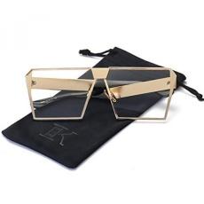Lkeye-Unik Oversize Perisai Antik Persegi Kacamata Hitam LK1705 Emas Bingkai/Bening Lensa-
