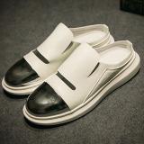 Beli Logam Inggris Musim Panas Elegan Sandal Baotou Kulit Sandal Putih Sepatu Pria Sepatu Sendal Oem Dengan Harga Terjangkau