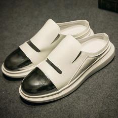 Jual Logam Inggris Musim Panas Elegan Sandal Baotou Kulit Sandal Putih Sepatu Pria Sepatu Sendal Oem Grosir