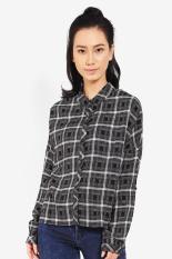 LOGO Pakaian Blouse dan Kemeja Wanita Brave Shirt Black Diskon discount murah bazaar baju celana fashion brand branded