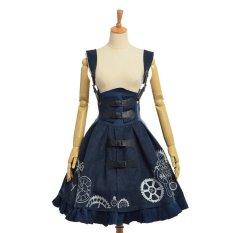 Harga L*l*t* Wanita Gothic Punk Bordir Gaun Eropa Vintage Suspender Gaun Biru Gelap Asli