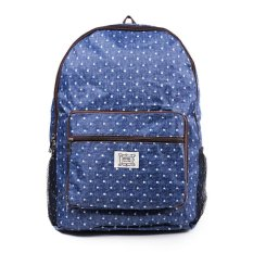 Jual London Berry By Huer Rene Packable Backpack Large Polkadot Denim Blue Dki Jakarta Murah