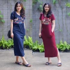 Spesifikasi Long Dress Calista Navy Dan Merah Maroon Paling Bagus