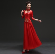 Jual Long Embroidery Diamond Wedding Dress Cheongsam Bridal Toast Two Sets Of Red High End Cheongsam Intl Oem Original